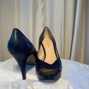 Black leather open toe heels with small platform
